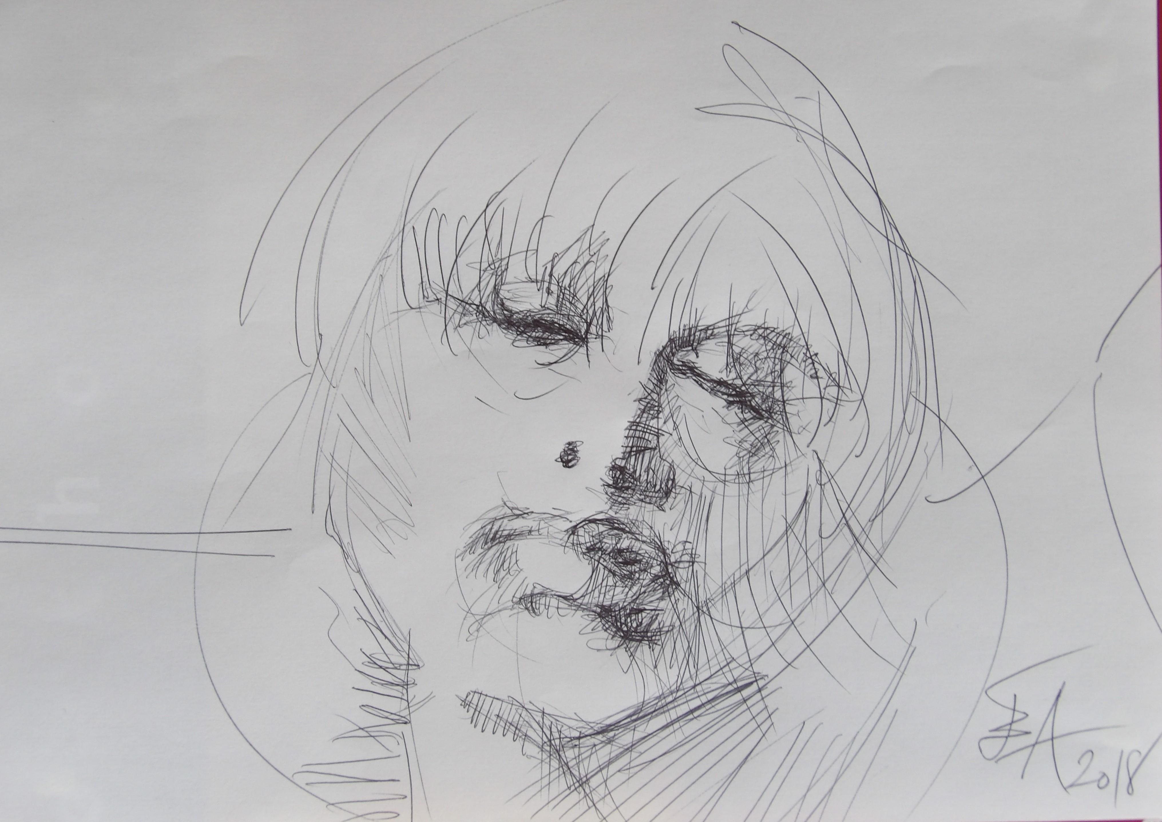 Dessins d'après les screen test d'Andy Warhol  shot between 1963 and 1966 -8 -Nico (3) - 2018