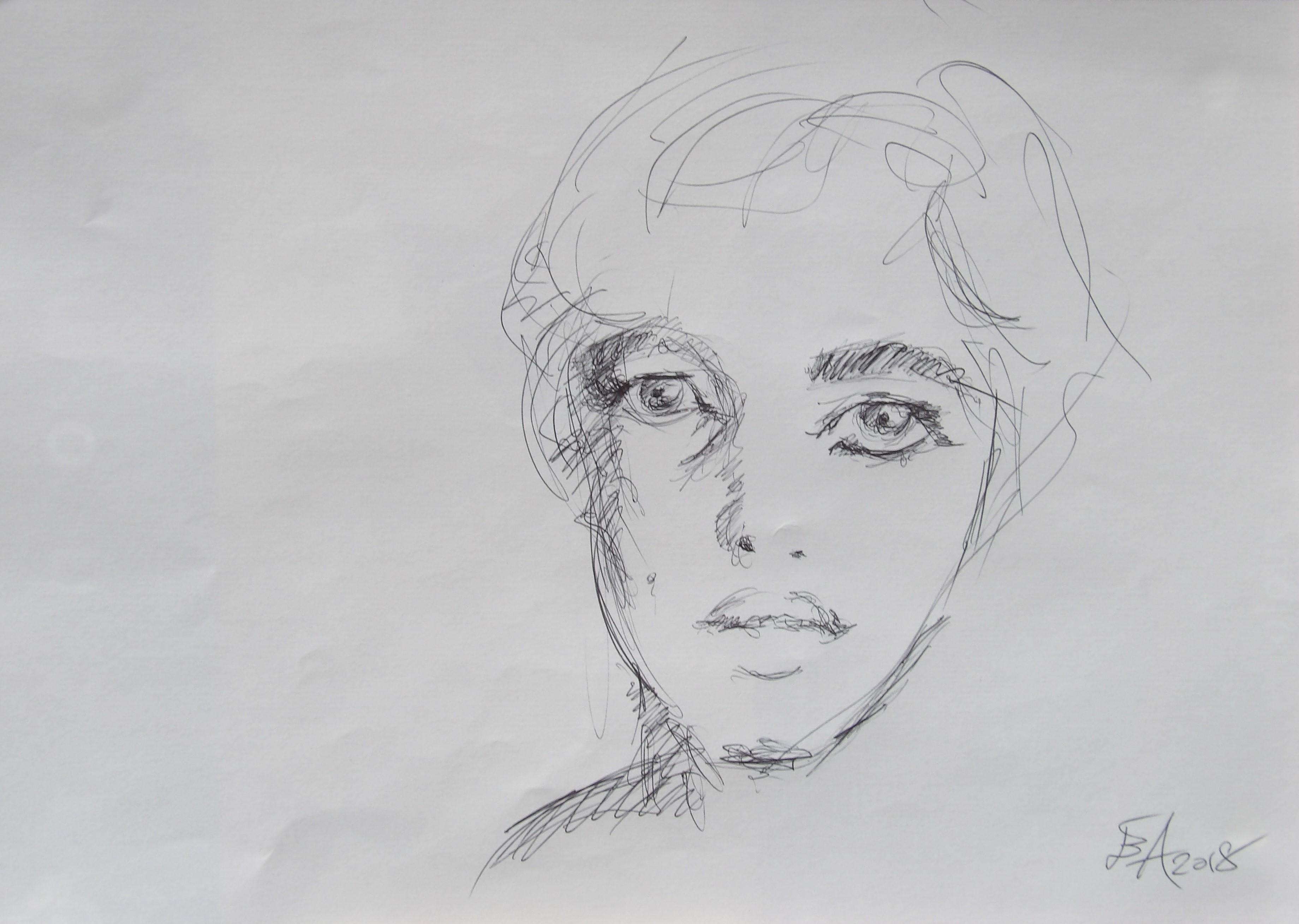 Dessins d'après les screen test d'Andy Warhol  shot between 1963 and 1966 -13 - Edie Sedgwick - 2018