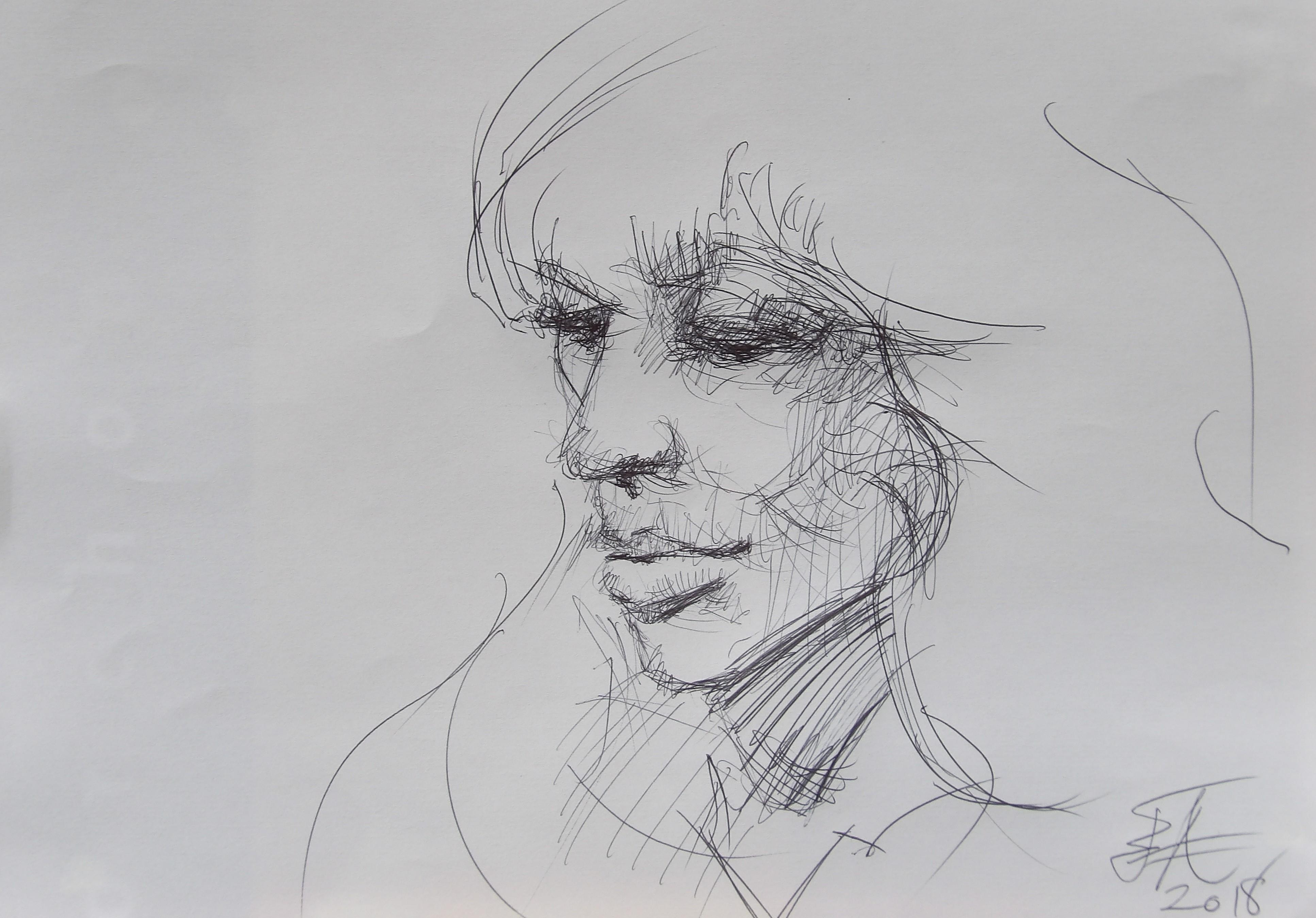 Dessins d'après les screen test d'Andy Warhol  shot between 1963 and 1966 -11 -Nico (6) - 2018
