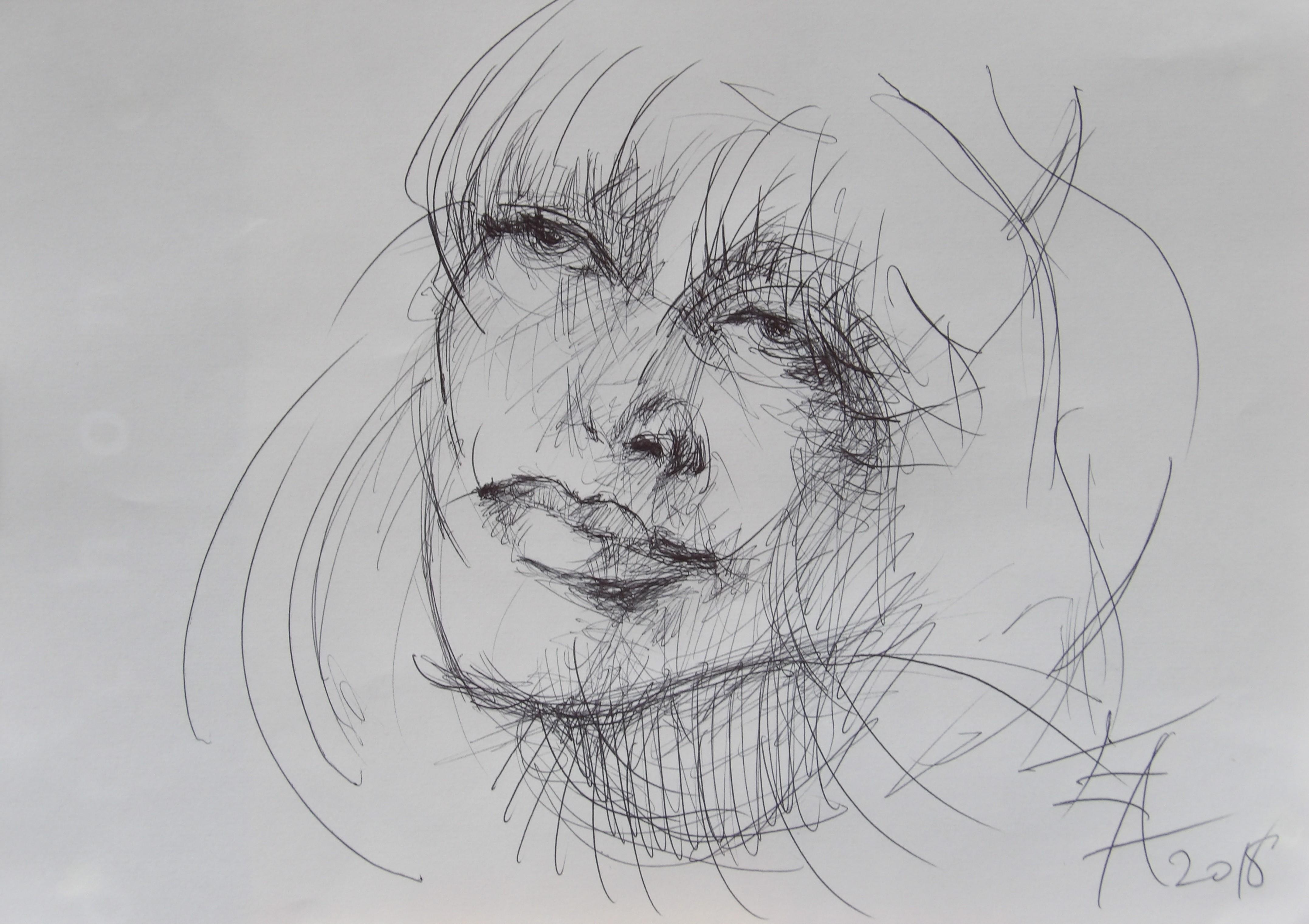 Dessins d'après les screen test d'Andy Warhol  shot between 1963 and 1966 -9 -Nico (4) - 2018