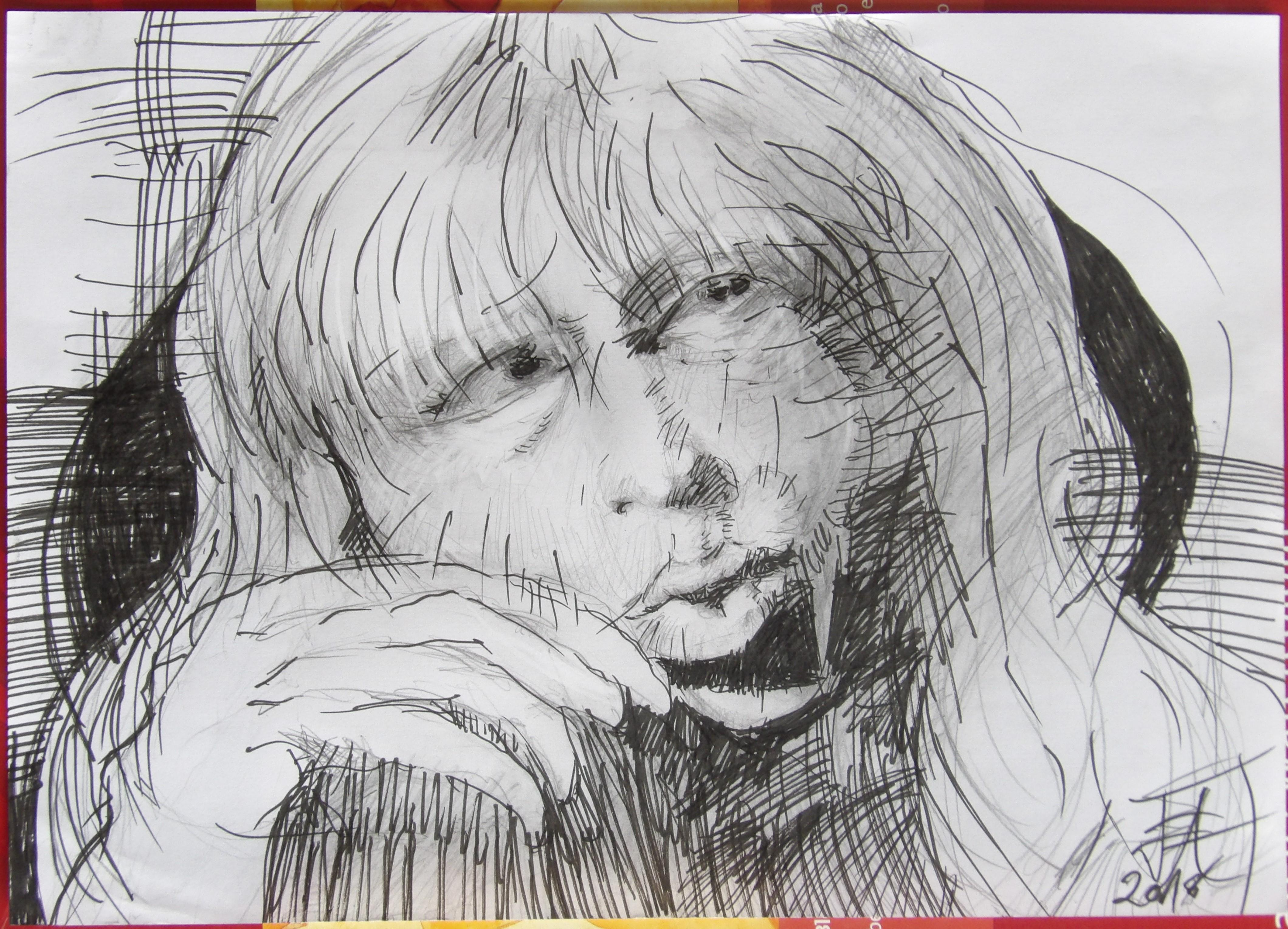 Dessins d'après les screen test d'Andy Warhol  shot between 1963 and 1966 -6 -Nico (1) - 2018