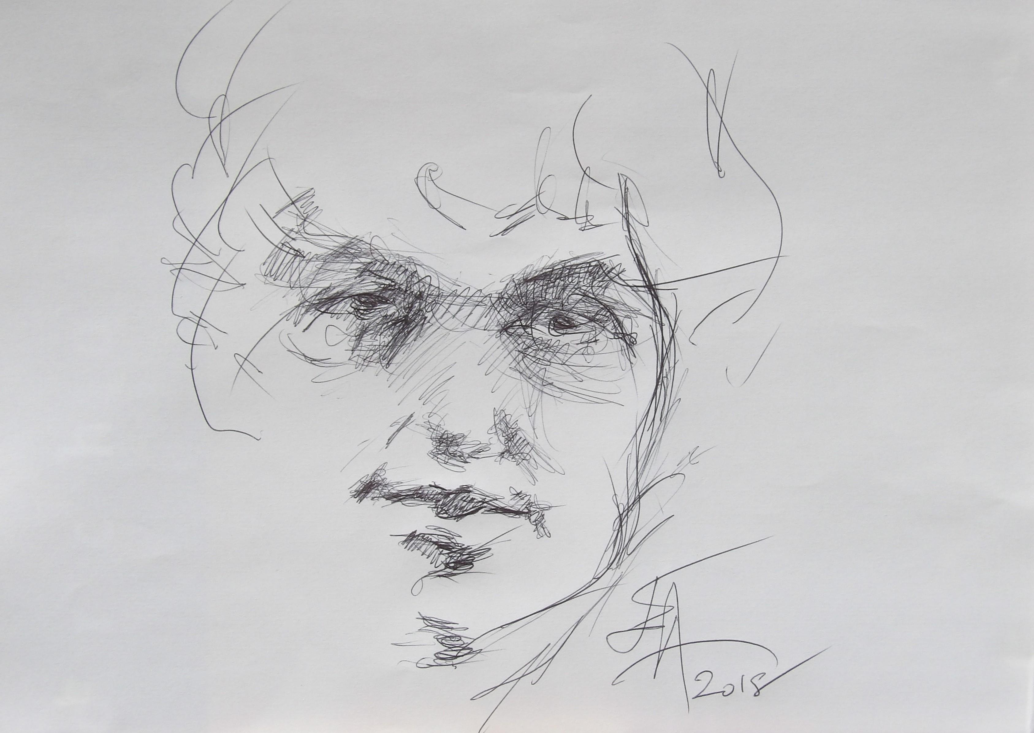Dessins d'après les screen test d'Andy Warhol  shot between 1963 and 1966 -3 - Bob Dylan - 2018