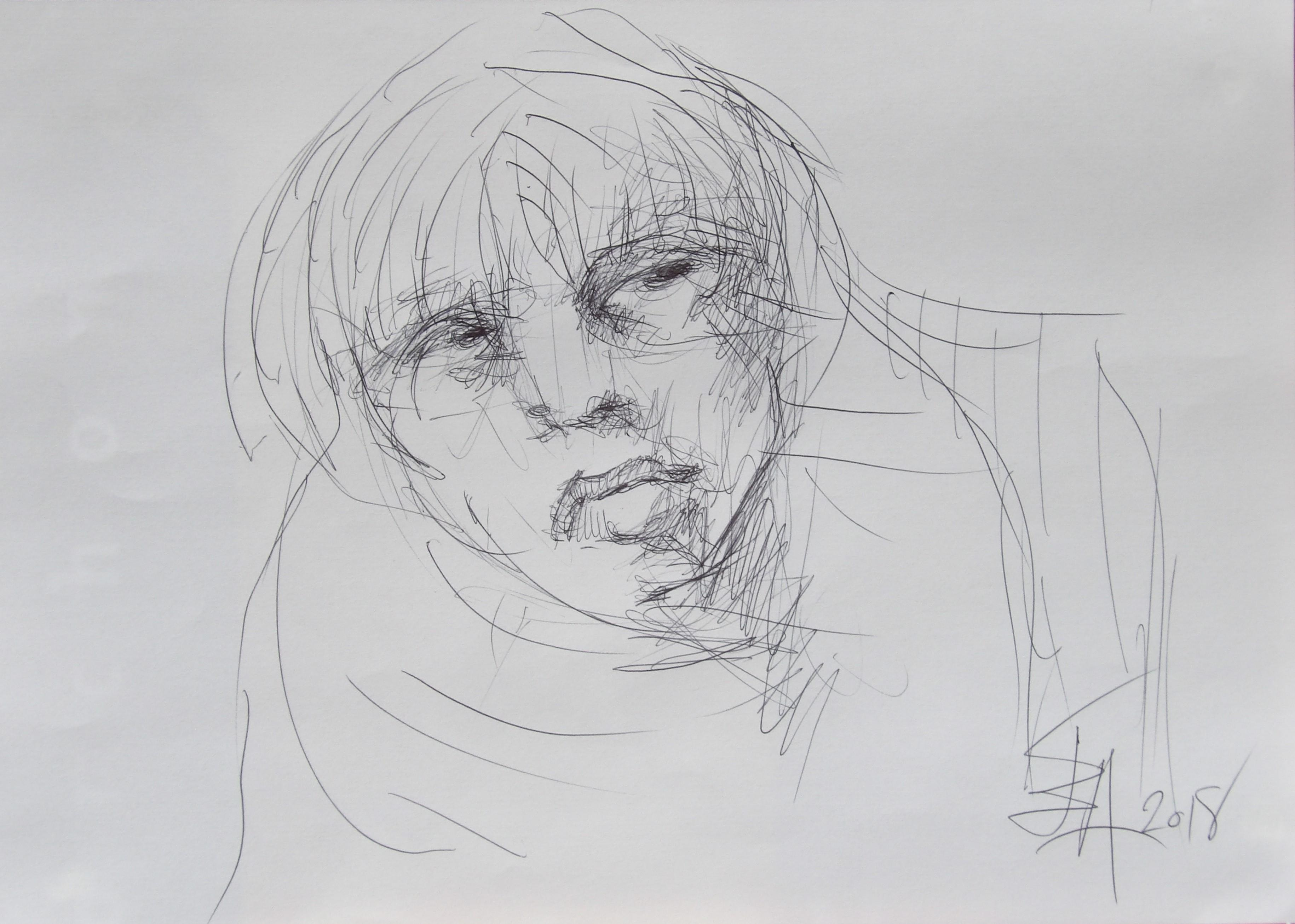 Dessins d'après les screen test d'Andy Warhol  shot between 1963 and 1966 -10 -Nico (5) - 2018